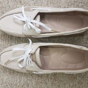 Size 10 womens canvas brown tan Sperrys